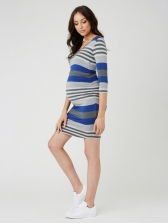 Round Collar Striped Maternity T-Shirt Dress