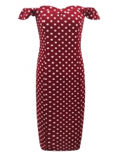 Summer Boat Neck Polka Dots Knee-Length Dress