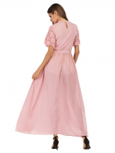 Crew Neck Lace Panel Fitted Blush Evening Dress