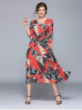 V Neck Colorblock Printed Large Hem Midi Dress
