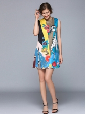 Crew Neck Cartoon Printed Vest Dress