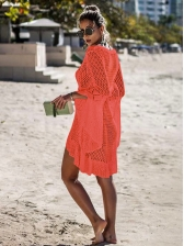 Sun Protection Hollow Out Flare Sleeve Cover Ups