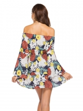 Boat Neck Off The Shoulder Print Dress