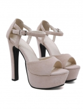 Solid Peep Toe Buckle Strap Chunky Platform Sandals