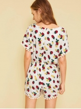 Summer Strawberry Printed V Neck Rompers