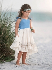 Contrast Color Ruffles Girls High Low Dress