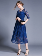 Elegant Crew Neck Big Swing Fitted Lace Dress