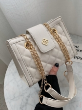 Grunge Style Quilted Chain Decor Shoulder Bag