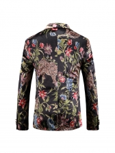 Leopard Floral Button Up Blazer For Men