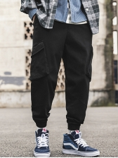 New Arrival Drawstring Solid Cargo Pants
