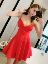 Sexy Low-cut Hollow Out Solid A-line Dress