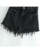 Euro Style Tassel Destroyed Denim Short Pants For Women