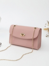 News Twist Lock Square Crossbody Bag With Chain