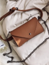 Preppy Style Hasp Solid Bumbag For Women