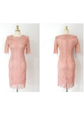 Crew Neck Hollow-Out Lace Pink Fitted Dress