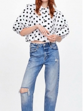 Lantern Sleeve Polka Dots Womens Blouse