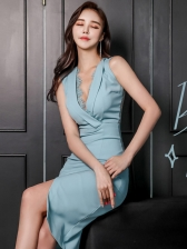 OL Style V Neck Blue Sexy Sleeveless Dress