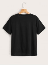 Casual Finger Printed Black T-shirt For Women