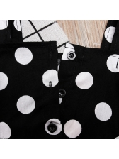Polka Dots Bow Girl 2 Pieces High Low Skirt Set