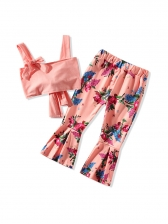 Blush Bow Cropped Top With Flower Flare Pants