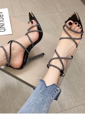 Rhinestone Strap Pointed Toe Women Sandals