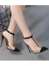 Sexy PVC Rivets Ankle Strap Heels