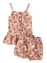 Ruffles Hem Button Up Baby Girl Floral Outfits