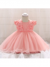Applique Patchwork Gauze Baby Girl Fluffy Dress