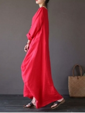 Casual Long Sleeve Solid Color Maxi Dress
