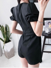 Korean Design Sexy V Collar Black Rompers