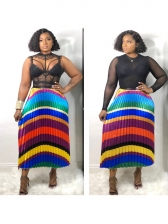 Hot Sale Multicolored Striped Pleated Maxi Skirt