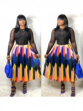 Hot Sale Color Block Pleated Maxi Skirt