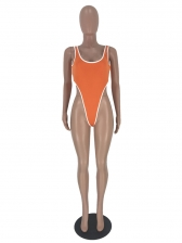 U Neck One Piece Swimsuit With Pencil Pants