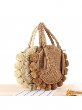 Fashion Round Vacation Woven Shoulder Bag