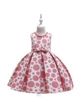 Dot Print Binding Little Girls Dress