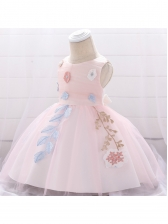 Flower Printed Gauze Girls Party Dress