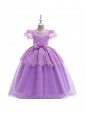 Self Tie Lace Patchwork Girls Princess Dress