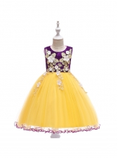 Contrast Color Stereo Flower Gauze Girls Party Dress
