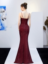 Sexy Sequin High Split Evening Dress With Belt