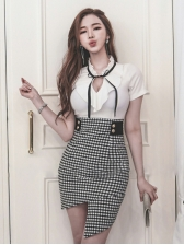 Irregular Plaid Patchwork Fitted Short Sleeve Dress