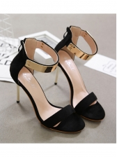 Metal Splicing Suede Ankle Strap Sandals