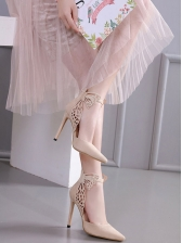 Butterfly Pointed Zipper Up High Heel Shoes