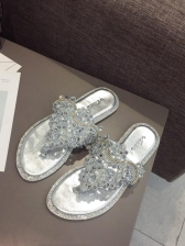 Easy Matching Beading Decor Flip Flop For Women