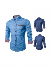 Turndown Collar Denim Shirt For Men