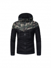 Classic Camouflage Patchwork Long Sleeve Hoodie
