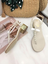 Fashion Easy Matching Pearl Decor Ladies Sandals