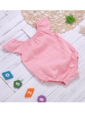Casual Agaric Laces Baby Girls Blush Romper