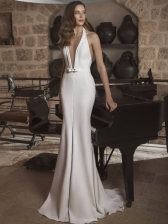 Plunging V Neck Backless Halter White Evening Dress