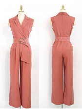 Office Lady Solid Color Sleeveless Jumpsuit