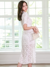 Lace Patchwork Knee-Length White Dress